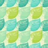 Lato ręka rysujący liść Tapetowy bezszwowy deseniowy tło ilustracja wektor
