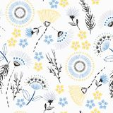 Lato ręki rysunku nakreślenia ogródu Bezszwowy deseniowy Kolorowy przepływ ilustracja wektor