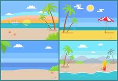 Lato raj Ustawiający Wektorowe Piaskowate plaże ilustracja wektor