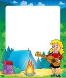 Lato rama z dziewczyny gitary graczem ilustracja wektor
