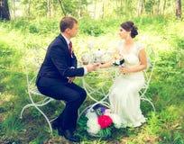 Lato romantyczny ślub w Provence stylu w lesie na zielonej trawie, Fotografia Stock