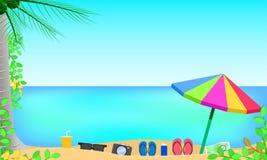 Lato sezon odgórny widok wokoło z liści kwiatów plażą mężczyzna i kobieta na pływaniu dzwonimy w pięknym niebieskiego nieba morza royalty ilustracja