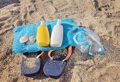 Lato skóry opieki zestaw, plażowy ręcznik i snorkel, Obrazy Stock