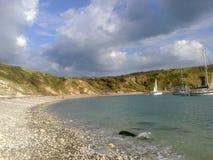 Lato soleggiato Regno Unito della spiaggia Immagine Stock