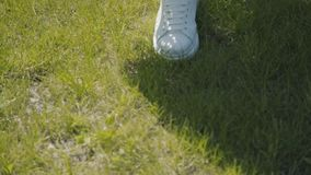 Lato spacer, łatwy sposób chodzenia Dziewczyny delikatnie kroki na trawie zbiory wideo