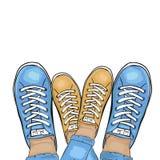 Lato sportów modni buty Cieki w sportów butów sneakers Para w miłości wektor ilustracji