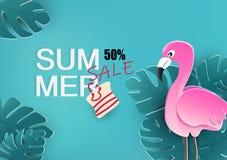 Lato sprzedaż, sztandar z flamingiem i tropikalnych liści plakatowy tło, sezonowy wakacje, kwiecisty projekt, fliyer, zaproszenie ilustracja wektor
