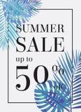 Lato sprzedaż w górę tu 50 procentu daleko Sztandar lub plakat Zdjęcia Stock