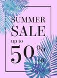 Lato sprzedaż w górę tu 50 procentu daleko Sztandar lub plakat Fotografia Royalty Free