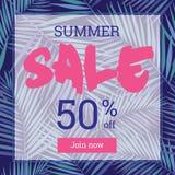 Lato sprzedaż w górę tu 50 procentu daleko Sztandar lub plakat Obraz Royalty Free