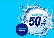 Lato sprzedaż z wodnych fal okręgiem ilustracja wektor