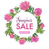 Lato sprzedaży Kwiecisty sztandar Sezonowy rabat ilustracji