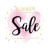 Lato sprzedaży Luksusowa akwarela, menchie i złoto sztandar dla Dyskontowego plakata, Fasonujemy sprzedaż, tła, w wektorze Zdjęcie Stock