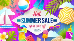 Lato sprzedaży promoci sztandar Wakacje, wakacje i podróży kolorowy jaskrawy tło, Plakata lub ulotki projekt royalty ilustracja