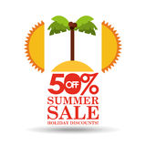 Lato sprzedaży 50 rabaty z palmową wyspą Obrazy Royalty Free