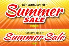 Lato sprzedaży szablonu sztandary z słońce promieniami Set jarzeniowy horyzontalny światło słoneczne pomarańcze tło również zwróc ilustracji