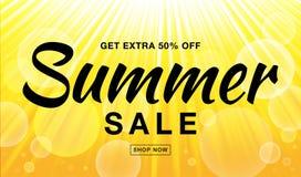 Lato sprzedaży szablonu wektorowy sztandar z słońce promieniami Jarzeniowy horyzontalny światło słoneczne koloru żółtego tło ilustracji