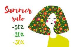 Lato sprzedaży sztandar z dziewczyny i kwiatów wzorem, retro projekt również zwrócić corel ilustracji wektora Obraz Stock