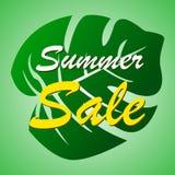 Lato sprzedaży sztandar z tropikalnym liścia tłem ilustracja wektor