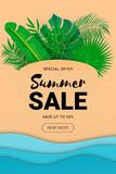 Lato sprzedaży sztandaru papieru liście ilustracji