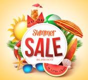 Lato sprzedaży sztandaru wektorowy projekt dla promoci z kolorowymi plażowymi elementami ilustracja wektor