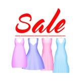 Lato sprzedaży tło z żywą partyjną suknią Wektorowy tło dla sztandaru, plakat, ulotka, karta, pocztówka, pokrywa ilustracji