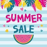 Lato sprzedaży tło z kolorowymi tropikalnych i palmy liśćmi Obraz Royalty Free