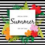Lato sprzedaży tło z pięknym kwiatem, wektorowy ilustracyjny szablon Zdjęcie Stock