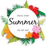 Lato sprzedaży tło z pięknym kwiatem, wektorowy ilustracyjny szablon Fotografia Stock