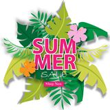 Lato sprzedaży tło z tropikalną wektorową ilustracyjną sprzedażą z szablonu Zdjęcia Stock
