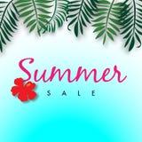 Lato sprzedaży tło z tropikalną wektorową ilustracyjną sprzedażą z szablonu Obrazy Stock