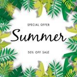 Lato sprzedaży tło z tropikalną wektorową ilustracyjną sprzedażą z szablonu Obrazy Royalty Free