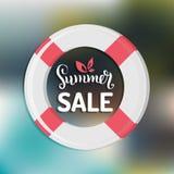 Lato sprzedaży wektoru tło Sezonu rabat z lifebuoy ilustracją Specjalnej oferty ręki literowania plakat Zdjęcia Royalty Free