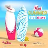 Lato Surfboards i plażowa piłka Obrazy Royalty Free