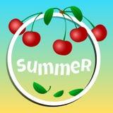 Lato sztandar, wiśnie w okręgu z wpisowym latem wektor ilustracji