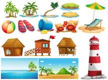 Lato temat z oceanem i budynkami ilustracja wektor