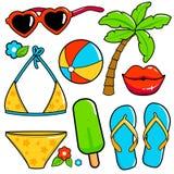 Lato tematu plaży wakacje projekta elementy Obrazy Stock