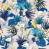 Lato Tropikalni kwiaty, palma opuszczają, dżungli rośliny, ptaki, szpilka ilustracji