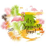 Lato tropikalny plakat z palma flamingiem i liśćmi Zdjęcie Stock
