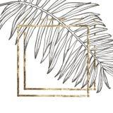 Lato tropikalnych liści wektorowy projekt z złoto ramą Abstrakcjonistyczny kwiecisty tło Zaproszenie lub karciany projekt z Zdjęcia Stock