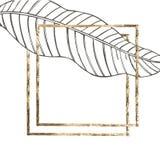 Lato tropikalnych liści wektorowy projekt z złoto ramą Abstrakcjonistyczny kwiecisty tło Zaproszenie lub karciany projekt z Zdjęcie Stock