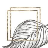 Lato tropikalnych liści wektorowy projekt z złoto ramą Abstrakcjonistyczny kwiecisty tło Zaproszenie lub karciany projekt z Obrazy Stock