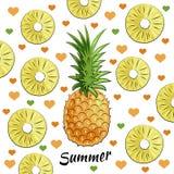 Lato ustawiający: ananas, ananasowi kawałki, lato inskrypcja, serca ilustracja wektor