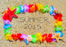 Lato 2015 w hawajczyk ramie Obrazy Royalty Free