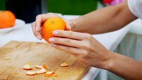 Lato, w ogródzie, zakończenie, żeńskie ręki struga pomarańcze od łupy rodzinni wakacje, lunch na naturze zdjęcie wideo