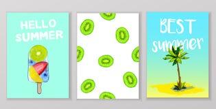 Lato, wakacje, urlopowy plakata set Fotografia Stock