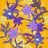 Lato wektoru Bezszwowego deseniowego ogródu błękitny kwiat w ręka bólu royalty ilustracja