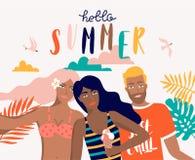 Lato wektoru plaży ilustracja z kreskówek ludźmi royalty ilustracja