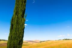 Lato widok Crete Senesi w Tuscany, Włochy zdjęcie stock