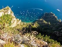 Lato widok wyspa Capri, Włochy Fotografia Stock